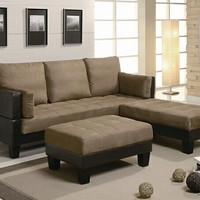 3 Pc. Two - Toned Chocolate Sofa Bed Set Dual Textured Microfiber and Faux Leather and Ottoman