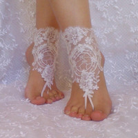 White silver frame beach wedding barefoot sandals bridal lace shoe woman accessories bridesmaid gift woman shoes