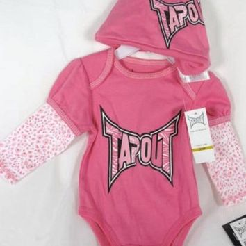 Tapout Infant Baby Girl Bodysuit Hat 2 Piece Pink Onesuit