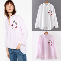 Autumn Embroidery Bat Plus Size Shirt [6332327492]