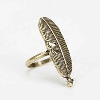 Feather Across Fingers Ring- Gold 6
