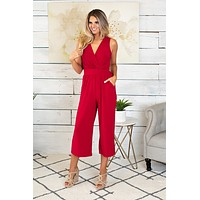 Your Number One Cropped Jumpsuit : Red