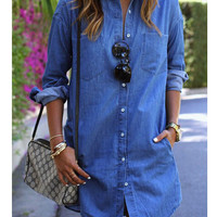 Fashion loose denim shirt