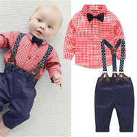 2016 New Baby Boy Spring  Gentleman Plaid Clothing sets Suit  Newborn Baby Bow Tie Shirt + Suspender Trousers  formal party