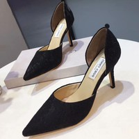 Jimmy Choo 2018 summer new sexy lace shoes wild low-heeled shoes F-OMDP-GD Black