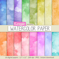 """Watercolor digital paper: """"WATERCOLOR PAPER"""" with rainbow colored watercolor / watercolour digital papers suitable for scrapbooking, cards"""