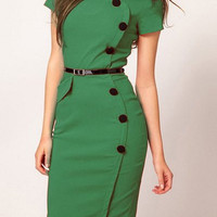 Green Belted Scoop Neck Sheath Dress
