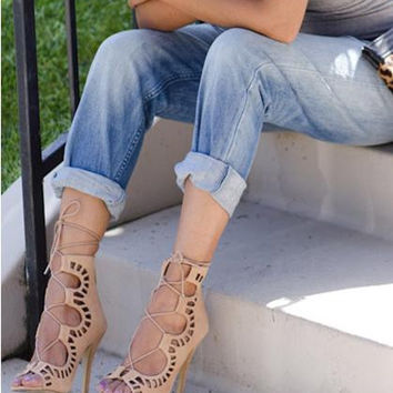 Brand New Gladiator High Heels Women Sandals Sexy Open Toe Cut Outs Women Shoes Lace Up Party Runway Shoes Women Pumps 534