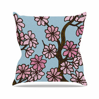 "Art Love Passion ""Cherry Blossom Day"" Floral Illustration Outdoor Throw Pillow"