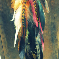 Dream Wolf-Handmade Natural Extra Long Chain Feather Hair Extension Clip, 13 inches, or Single Feather Earring, Grizzly Feathers