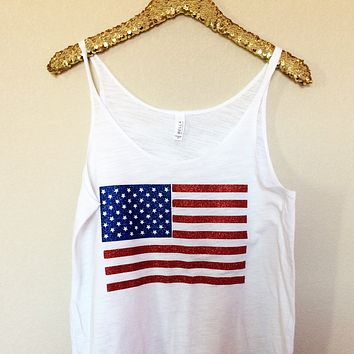 American Flag - Glitter - Slouchy Relaxed Fit Tank - Holiday Tank - Fourth of July - Ruffles with Love - Fashion Tee - Graphic Tee