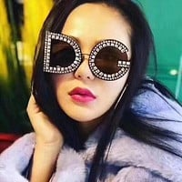 2019 Imitation Diamond DG Oversized Sunglasses Strass Designer Glasses Famous Brand Ladies Square Crystal Glasses gafas carter