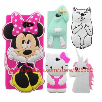 For Sony Xperia M2 S50h Cartoon Minnie Mouse Bunny Unicorn Hello Kitty Pocket Cat Owl Batman Lips 3D Silicone Case Cover
