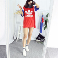 Adidas Print Color Stitching Shirt Dress