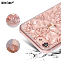 3D Diamond Pattern Case for iPhone 6 6S 7 7 Plus Transparent Clear Soft TPU Cover Crystal Ultra Thin Shining Phone Shell
