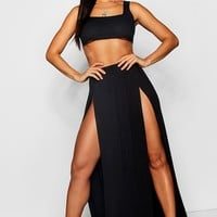 Thigh Split Maxi Skirt | Boohoo