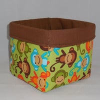 Cute Monkey Themed Green and Brown Fabric Basket For Storage Or Gift Giving