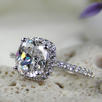 Sterling Silver Cushion Cut Ring