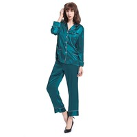 LILYSILK Women's Long Silk Pajamas Set V Neck Notched Collar with White Trimmed