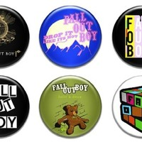 """6 New Fall Out Boy 1.25"""" Pinback Button Badge Pin Set One"""
