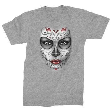Large Day Of The Dead Face Mens T-shirt