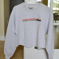 Cropped Crewneck Sweatshirt Gray University of Miami Vintage Oversized 90s M