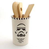 Star Wars, utensil holder, crock,  stormtrooper - not the droids you're cooking for - ceramics and pottery - home and living, kitchen