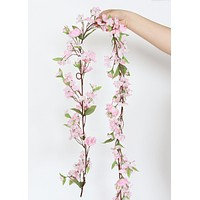 Silk Cherry Blossom Garland in Pink - 6'