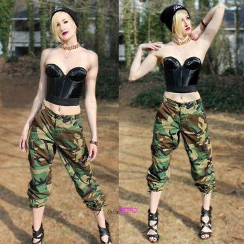Vintage Unisex Authentic Military High Waisted Cargo Camo Pants