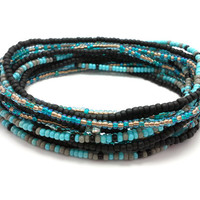 3 Stretch seed bead wrap bracelets, stacking, beaded, boho anklet, bohemian, stretchy stackable multi strand, black, blue, grey, teal