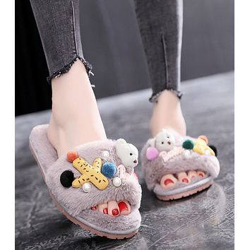 New style of home slippers and fluffy slippers in autumn and winter