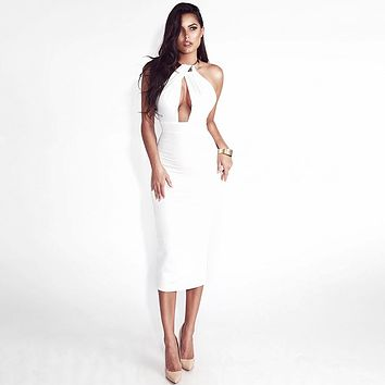 HALTER STYLE BACKLESS BODY CON DRESS