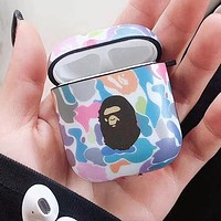 BAPE AAPA Silicone iPhone Airpods Headphone Case Wireless Bluetooth Headphone Protector Case(No Headphones) 1#