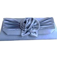 Trezo Angle Ribbed Clutch with Rosette/floral