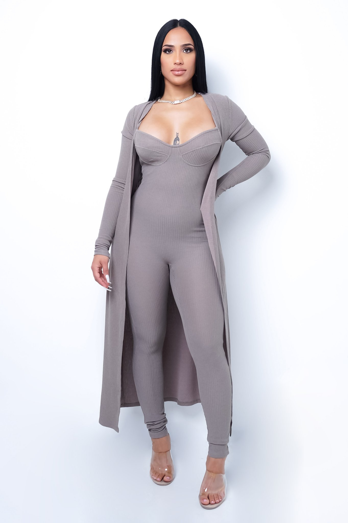 Image of STAY THE NIGHT JUMPSUIT AND CARDIGAN SET