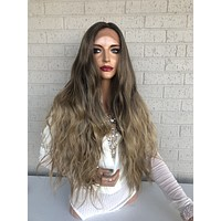 "Balayage Ombre Brown Blonde SWISS Lace Front Wig | 26"" Bay 0319"