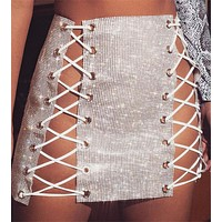 Sexy nightclub sparkly patchwork ensemble skirt
