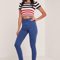 Missguided - Blue Rebel Supersoft Superstretch Skinny Jeans