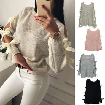 New Women Bow Hollow Out Long sleeve Warm Sweater Pullover Knitting Bow Loose O-Neck Tops Blouse Knitwear