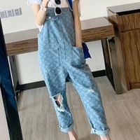 """Supreme x Louis Vuitton"" Women Loose Casual Fashion Letter Back Strap Jeans Trousers"