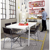 pocket white extension dining table in dining tables | CB2