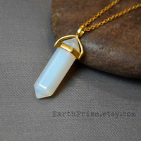 Opalite Hexagonal Clear White Crystal Point Pendant Necklace with Gold Plated Chain | Opalite Necklace | Gold Crystal Necklace | Gemstone
