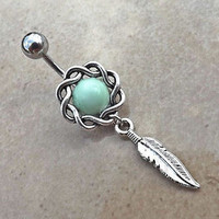 Dream Catcher Mint Green Ball Belly Ring Fits In Navel and Feather 14ga Surgical