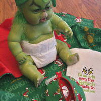 Grinch Baby Blanket Gift Set Infant Beanie Hat Burp & Pacifier Pod for Baby's 1st Grinchmas Gift! Snuggly So SilKy Soft Minky ! READY 2 ShiP