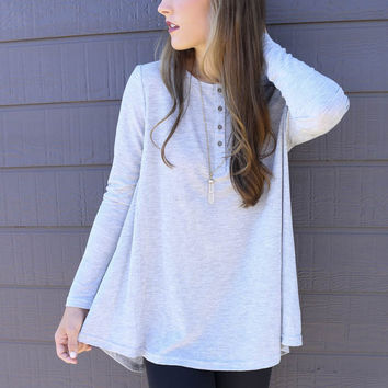 Olympic View Heather Gray Oversized Long Sleeve Thermal Knit Henley Top