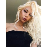 Short Medium Blonde Curly Bob Synthetic Lace Front Wig