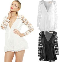 New 2015 Hot Selling Women's Lace Jumpsuit Shorts Sexy Women Overalls Casual V Neck Long Sleeves Rompers White Lace Playsuits