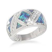 Synthetic Blue Opal and Cubic Zirconia Ring