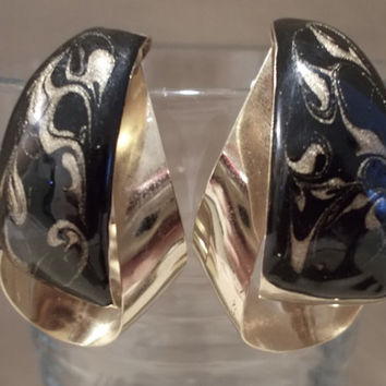 Vintage 80's Large Gold & Black Enamel Abstract Post Dangle Earrings w/ Safety Backings, Fashion Jewelry, Bold, Statement, Glamour, Unique