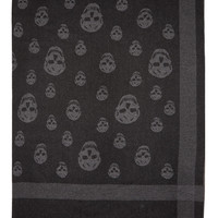 Alexander Mcqueen Black And Grey Jacquard Skull Blanket